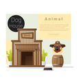 Cute animal collection Dog house 2 vector image vector image