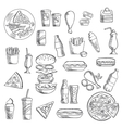 Fast food snacks and takeaway drinks vector image vector image