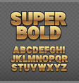 font alphabet gold style sanserif with long vector image vector image