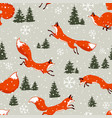 fox seamless winter vector image vector image