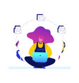 freelance worker - modern flat design style vector image vector image