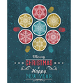 Green grunge Christmas card with snowflakes vector image