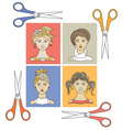 hairstyles and scissors 1 vector image vector image