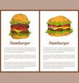 hamburger meal posters set vector image vector image