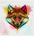 hipster animal fox on artistic polygon watercolor vector image