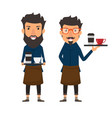 hipster style barista holding a coffee on a tray vector image