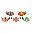 medic masks with animal muzzles cute cartoon pets vector image