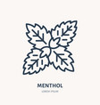 menthol flat line icon medicinal plant leaves vector image vector image