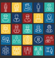 person icons set on color squares background for vector image