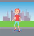 person skating at city street vector image