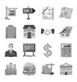 realistic animals set icons in monochrome style vector image vector image