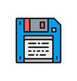 save diskette floppy disc flat color line vector image vector image