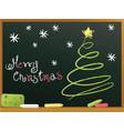 school blackboard with christmas tree vector image vector image