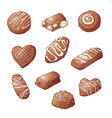 set chocolate candies hand vector image vector image