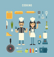 Set of Icons and in Flat Design Style Cooking vector image vector image