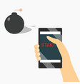 start a bomb from phone design vector image vector image