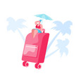 summer time vacation tiny female character in vector image vector image
