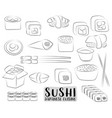Sushi and rolls set japanese cuisine concept