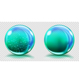Two big light blue glass spheres vector image