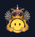 unicorn cat angel wings and holding smile emoticon vector image
