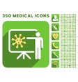 Virus Lecture Icon and Medical Longshadow Icon Set vector image vector image