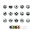 web and mobile icons 9 - metal round series vector image