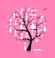 white cats on tree branches silhouette for your vector image vector image
