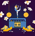 woman dancing on tape recorder ballerina cartoon vector image