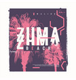 zuma beach graphic t-shirt design poster vector image vector image
