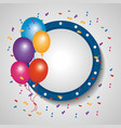 empty banner decoration balloons border and vector image