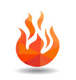 red fire icon isolated on white background vector image