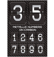 set of metallic numbers on carbon background vector image