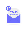 27 years anniversary icon in open letter vector image vector image