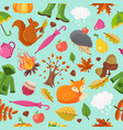 autumn animals pattern forest fall cute fox vector image vector image