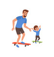 bearded father and his little son riding on vector image vector image
