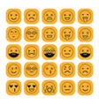 black linear flat icons of emoticons on orange vector image vector image