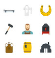 blacksmith icon set flat style vector image vector image
