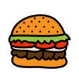 burger concept cartoon flat style vector image vector image