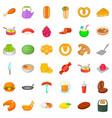 burger icons set cartoon style vector image vector image