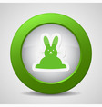 button with green Easter bunny vector image vector image