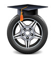 car wheel with square academic cap vector image vector image