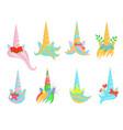 cartoon color unicorn tiaras sign icon set vector image vector image