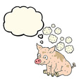 cartoon smelly pig with thought bubble vector image