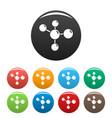 chemistry molecule icons set color vector image vector image