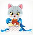 cute cartoon baby cat sit on big gift box vector image vector image