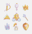 cute girl princess icon set collection cute vector image