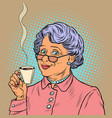 elderly woman drinking coffee vector image