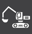excavator glyph icon transport and vehicle vector image vector image
