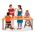 family cooking in kitchen children and parents vector image vector image