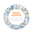 financial accounting circle poster with flat line vector image